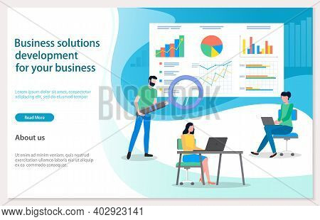 Business Solutions Development For Your Business. Man With Magnifying Glass Searching, Analysing Sta