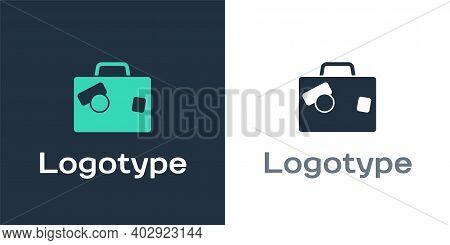 Logotype Suitcase For Travel Icon Isolated On White Background. Traveling Baggage Sign. Travel Lugga