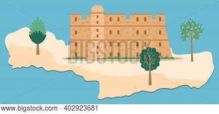 Crete Island Travel Map Vector Illustration. Medieval Fortress With Towers Surrounded By Trees. Terr