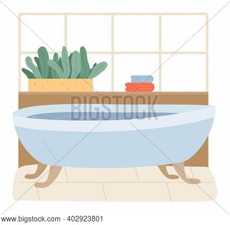 Interior Of A Bathroom. Bathtub Full Of Water In The Bath Room. Cozy Place For Relax, Human Body Hyg