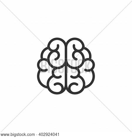 Grey Line Line Brain Icon. Intellect, Phsychology, Knowledge Simple Pictogram Isolated On White. Fla