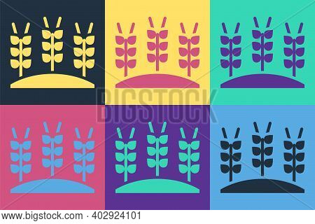 Pop Art Cereals Set With Rice, Wheat, Corn, Oats, Rye, Barley Icon Isolated On Color Background. Ear
