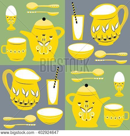 Vector Breakfast Dishes Seamless Pattern Background. Geometric Backdrop With Yellow Retro Country Ju