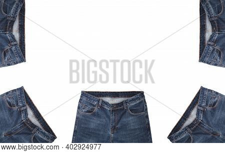 Front Pockets, Waist Areas, Zippers, And Buttons Of Five Pairs Of Dark Blue Jeans Isolated On White
