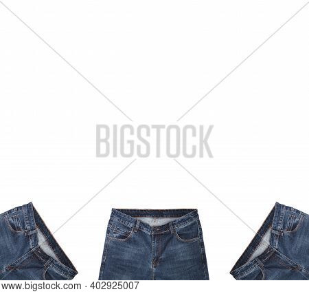Front Pockets, Waist Areas, Zippers, And Buttons Of Three Pairs Of Dark Blue Jeans Isolated On White