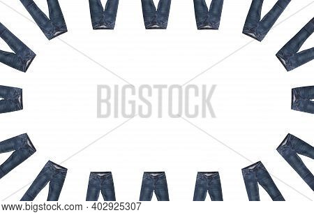 Front Pockets, Waist, Leg Areas, Zippers, And Buttons Of 16 Pairs Of Dark Blue Jeans Isolated, White