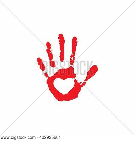 Human Palm Imprint. Paint Trace With Heart In Center Isolated On White Background. Charity, Philanth