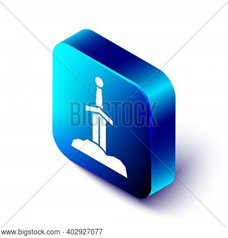 Isometric Sword In The Stone Icon Isolated On White Background. Excalibur The Sword In The Stone Fro