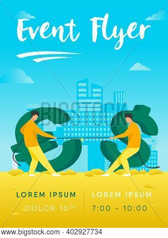 Dollar And Euro Competition. Currency Characters Playing Tug-of-war, Pulling Rope Flat Vector Illust