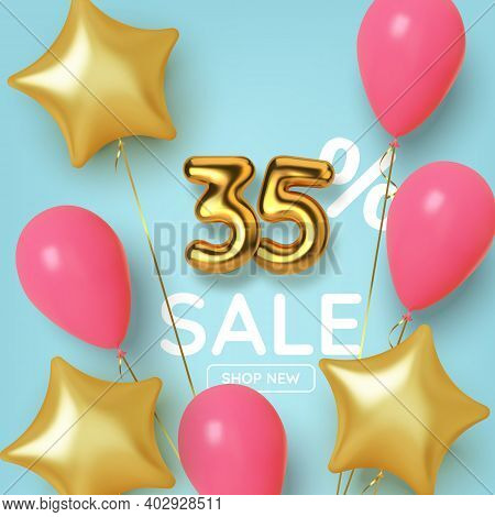 35 Off Discount Promotion Sale Made Of Realistic 3d Gold Number With Balloons And Stars. Number In T