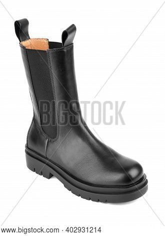 Women\'s Shoes On A White Background. Close Up Of A Women\'s Black Leather Chelsea Boots On White Ba