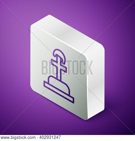 Isometric Line Soldier Grave Icon Isolated On Purple Background. Tomb Of The Unknown Soldier. Silver