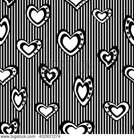 Seamless Vector Pattern. Stylized Black-and-white Hearts Set Against A Background Of Frequent, Narro