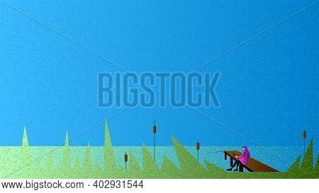Vector Fisher In Grain Brush Style. Digital Art