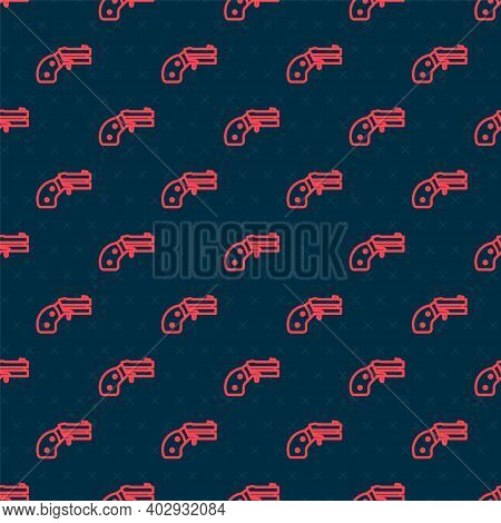 Red Line Small Gun Revolver Icon Isolated Seamless Pattern On Black Background. Pocket Pistol For Se