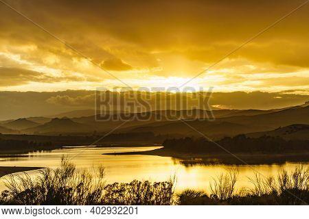 Spanish Inland Nature Landscape At Sunset. Lake Embalse Del Guadalhorce, Ardales Reservoir, Malaga A