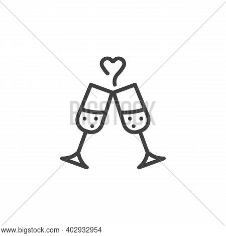 Champagne Glasses Cheers Line Icon. Linear Style Sign For Mobile Concept And Web Design. Champagne G
