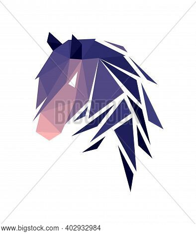 Vector Horse In Low Poly Style. Digital Art