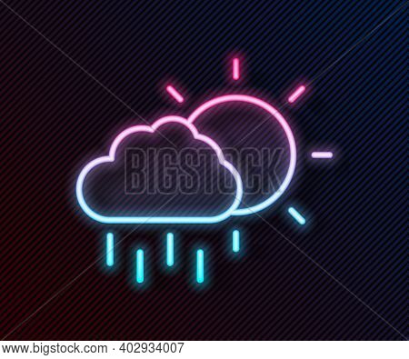Glowing Neon Line Cloud With Rain And Sun Icon Isolated On Black Background. Rain Cloud Precipitatio