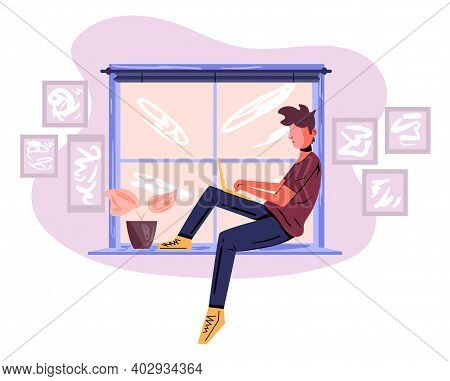 A Man Freelancer Sitting On The Windowsill And Working Using Laptop. Concept Of Remote Work From Hom