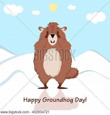 Happy Groundhog Day. The Groundhog Closes His Eyes, Frightened By His Shadow. Vector Illustration.