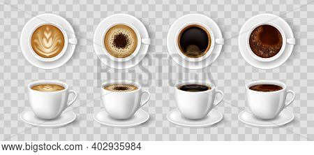 Realistic Coffee Cups. Black Coffee, Cappuccino, Latte, Espresso, Macchiatto, Mocha Top And Side Vie