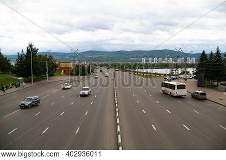 Multi Lane Road With A Concrete Lane Divider.