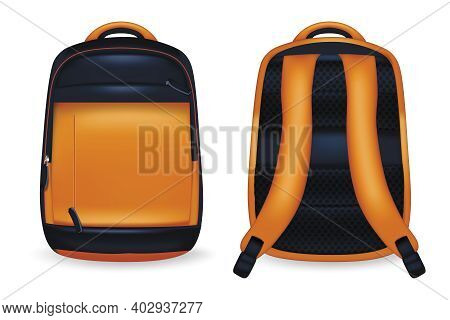 Realistic Detailed 3d Backpack School Set Front And Back View. Vector Illustration Of Rucksack Or Sc