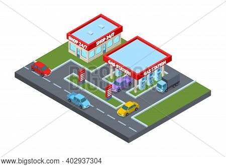 Gas Station Building Concept 3d Isometric View Architecture Construction For Game On A White. Vector