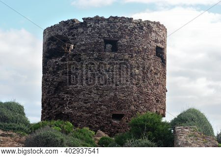 View Of Tower Torre Negra In The Porto Ferro Coast