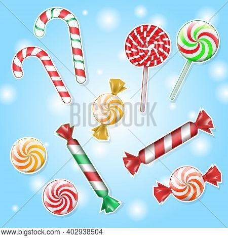 Candy Shop Round Frame Background With Realistic Fruit Lollipops With Sprinkles. Candies And Caramel