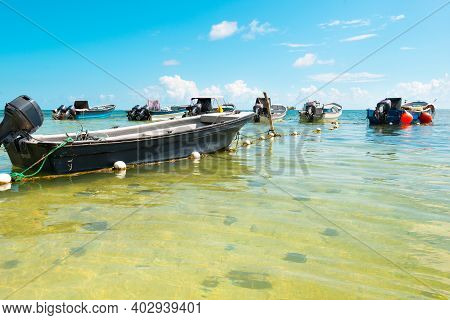 Boats At San Andres Island At The Caribbean, Colombia, South America