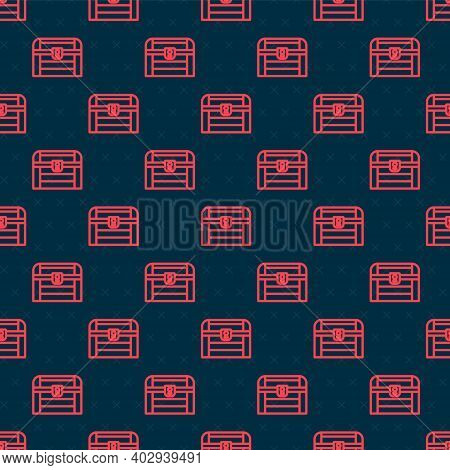 Red Line Antique Treasure Chest Icon Isolated Seamless Pattern On Black Background. Vintage Wooden C