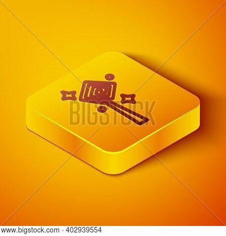 Isometric Line Magic Staff Icon Isolated On Orange Background. Magic Wand, Scepter, Stick, Rod. Yell