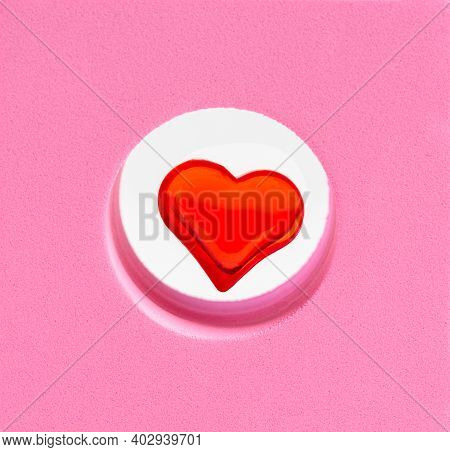 Valentine's Day Concept With A Red Heart In A Pink Geometric Shape With A Copy Space.