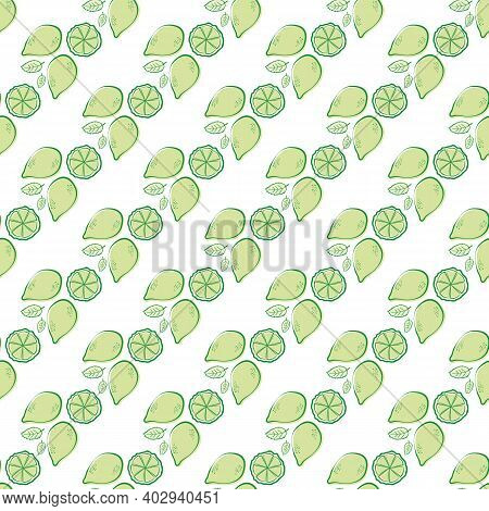 Citrus Fruit And Minty Leaves Vector Seamless Pattern Background. Retro Green White Backdrop With Mi