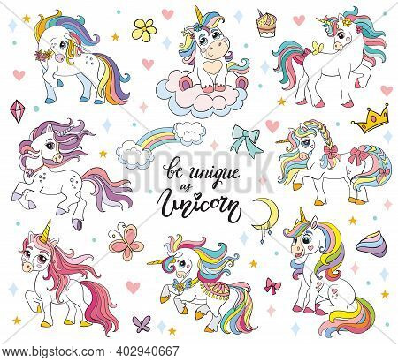 Set Of Cute Cartoon Unicorns With Magic Elements. Vector Illustration Isolated On A White Background