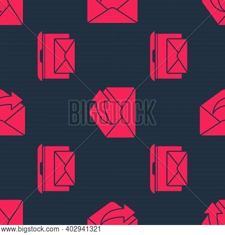 Set Laptop With Envelope And Outgoing Mail On Seamless Pattern. Vector