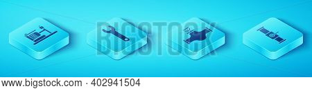 Set Isometric Electric Water Pump, Wrench Spanner, Industry Pipe And Valve And Industry Pipe And Val
