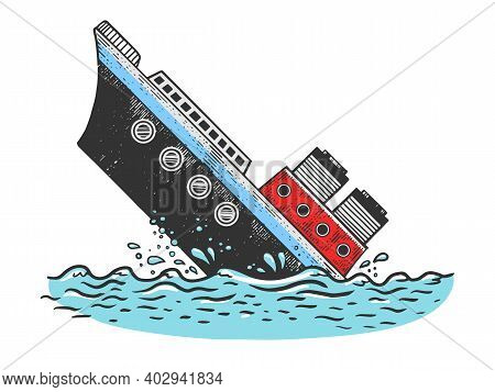 Sinking Steamboat Ship Sketch Color Engraving Vector Illustration. T-shirt Apparel Print Design. Scr
