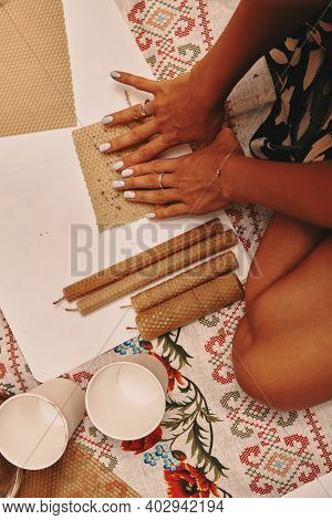 Hand Made Yellow Candles From Natural Bee Wax. The Process Of Creating Candles With Your Own Hands.