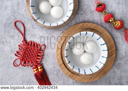 Top View Of Big Tangyuan In A Bowl For Chinese New Year Food.