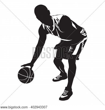 Basketball Dribbling Skills. Athlete, Professional Basketball Player Silhouette With Ball, Vector Il