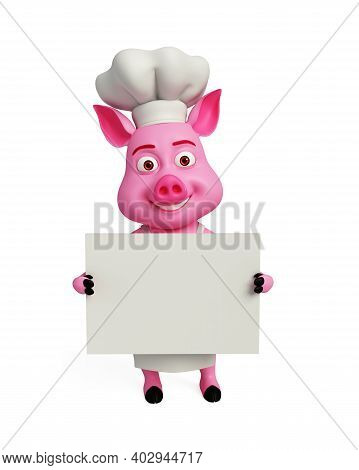 3d Rendered, 3d Illustration Of Chef Pig With White Board.