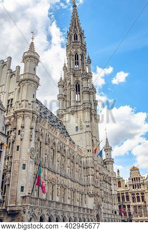 Brussels, Belgium - July 20, 2020: Tower Of The City Hall At The Grand Place Central Square In The O