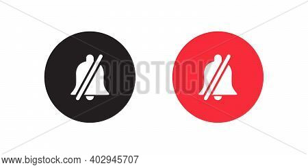 Silent Notification Icon Vector In Flat Style. Mute Bell Symbol Illustration