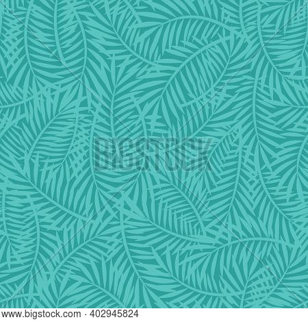 Scattered Palm Leaves Seamless Texture Background. Simple Summer Vector Pattern With Palm Tree Branc
