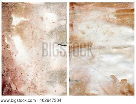 Watercolor Abstract Background With Pink, Gold, Beige And Yellow Spots. Hand Painted Pastel Illustra