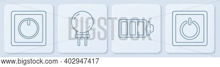 Set Line Electric Light Switch, Battery Charge Level Indicator, Light Emitting Diode And Electric Li