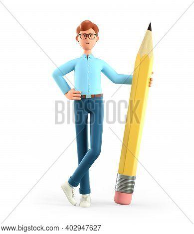 3d Illustration Of Smiling Creative Man Holding Big Pencil And Generating Ideas. Cartoon Standing Bu